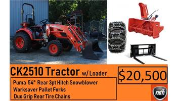"Package Deal #7 - CK2510 Tractor w/ Loader, Puma 54"" Snowblower, Pallet Forks & Tire chains"