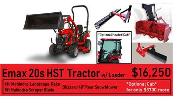 "Mahindra Package Deal #3 -  eMax 20s HST Tractor w/ Loader, 48"" Rear Snowblower, Blade & Rake"