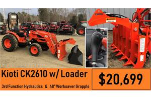 "Package Deal #8 - CK2610 w/ Loader & 3rd Function & 48"" Worksaver Grapple"