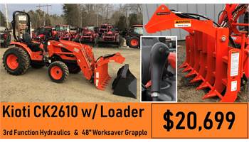 "2019 Package Deal #8 - CK2610 w/ Loader & 3rd Function & 48"" Worksaver Grapple"