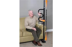 Stander Security Pole & Curved Grab Bar