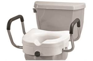 Raised Toilet Seat with Clamp and Arms 5""