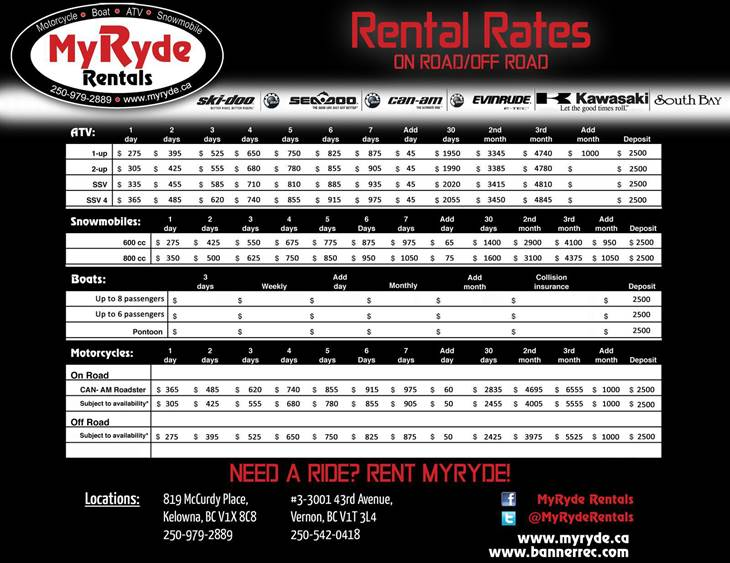 MyRyde Rentals Pricing