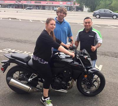 Orlando with Amanda picking up her new 2014 Honda CB500F