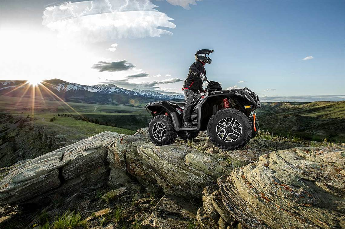 Riding Polaris ATV