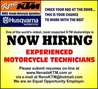 Reno KTM-Nevada Motorcycle Specialties SPARKS, NV 775-358-4388