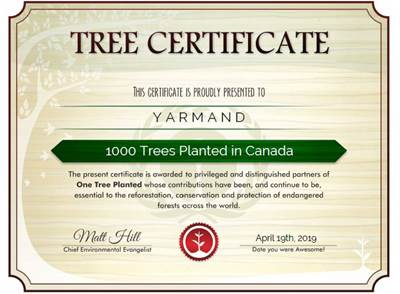 YARMAND Planted 1000 Trees by Earth Day 2019