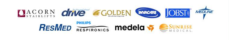 We carry products from Acorn Stairlifts, Drive, Golden, Invacare, Jobst, Medline, ResMed, Respironics, Medela, and Sunrise Medical.