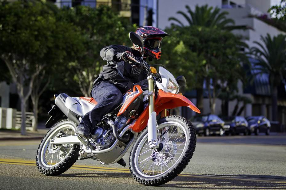 Man riding a Honda Dual Sport Bike