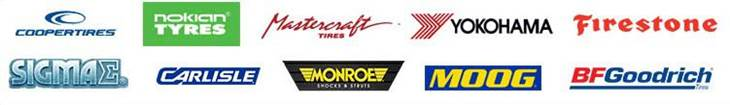 We carry products from Cooper, Nokian, Mastercraft, Yokohama, Firestone, Sigma, Carlisle, Monroe, Moog, and BG.