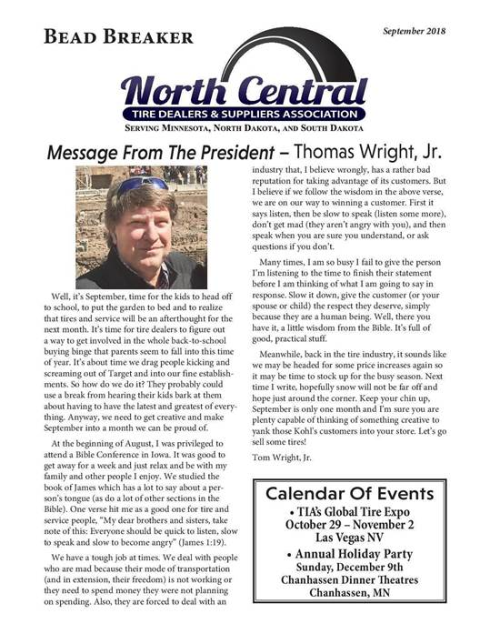 Message From The President - Thomas Wright, Jr.