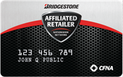 Apply for a Bridgestone or Firestone Credit Card.