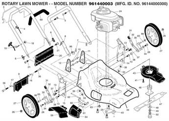 Black Max Lawn Mower Parts for Model 96144000300 on