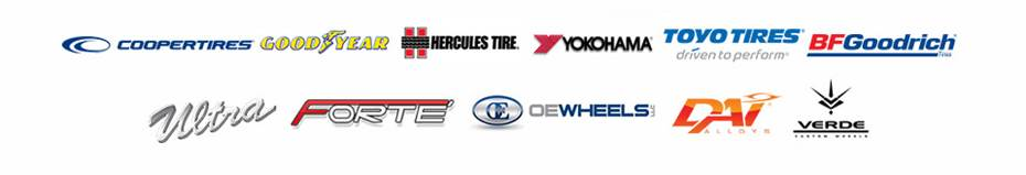 We carry products from Cooper, Goodyear, Hercules, Yokohama, Toyo, BFGoodrich®, Ultra Wheels, Forte Wheels, OE Replica Wheels, DAI Wheels, and Verde Wheels.