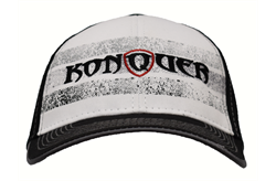 Konquer Striped Black & White Hat With Black Logo