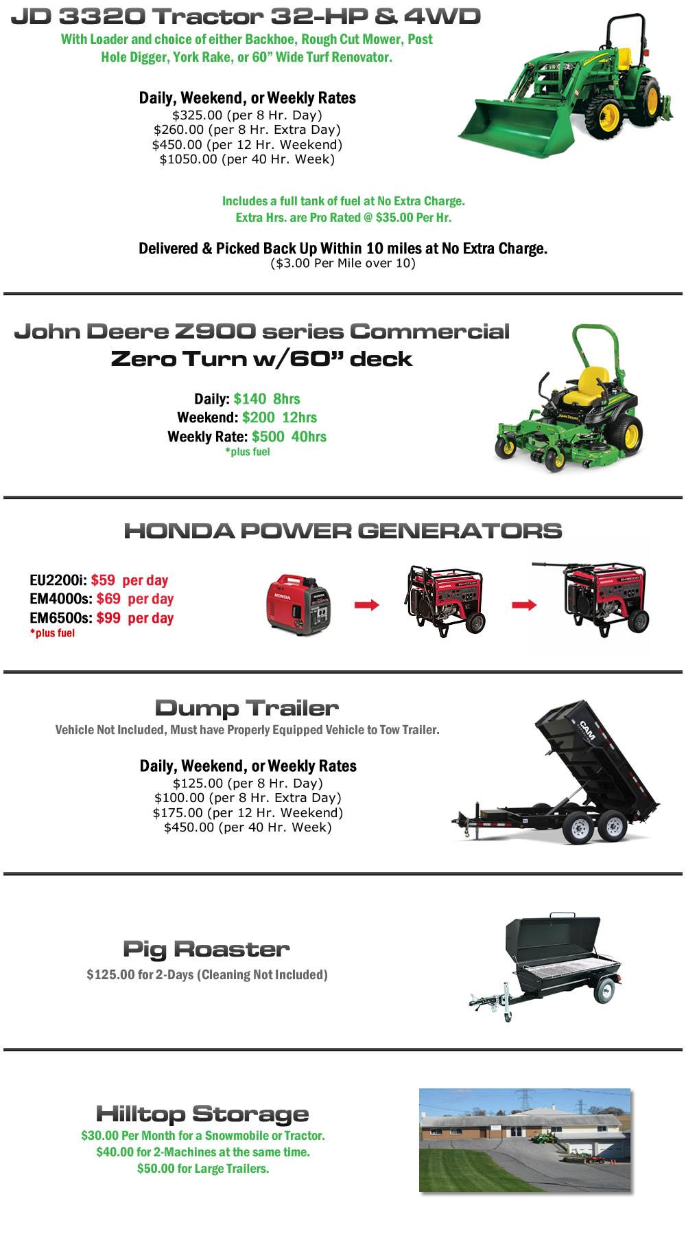 Rental Equipment available in Bangor, PA at Hilltop Rentals