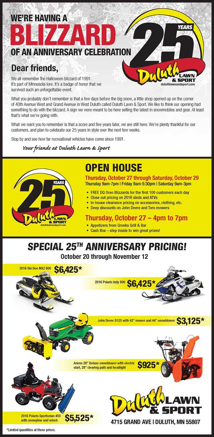 25 Years Blizzard Anniversary Open House Duluth Lawn Sport