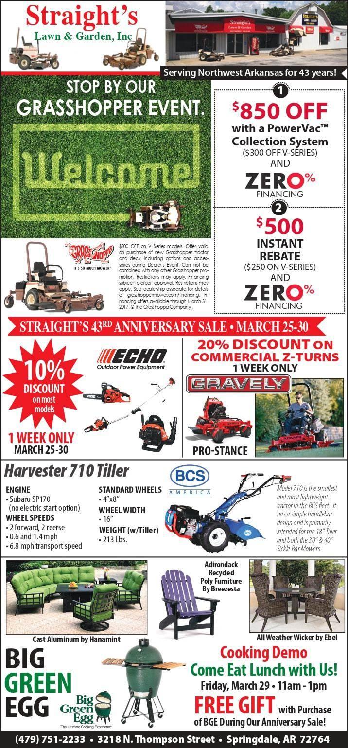 Events List Straight's Lawn & Garden Inc  Springdale, AR