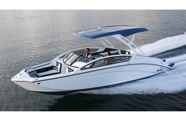 Yamaha 27 ft boat out on the water