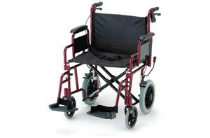 22 INCH TRANSPORT CHAIR W/ 12 IN. REAR WHEELS