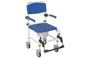 ALUMINUM REHAB SHOWER COMMODE CHAIR W/LOCK CASTERS