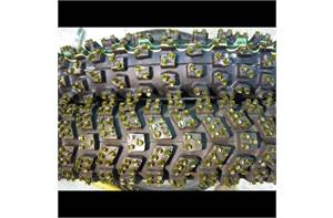 Motorcycle ice tires FRP studded Left  Right turn.