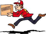 Delivery boy running for urgent delivery