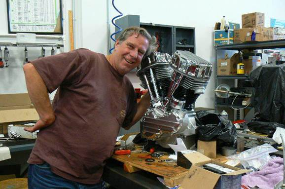 Glen with his Panhead Engine.JPG