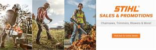 STIHL sales & promotions! Chainsaws, trimmers, blowers & more!: Click here for further details.