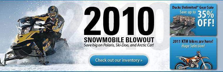 Save big on Polaris, Ski-Doo, and Arctic Cat models during our 2010 Snowmobile Blowout! Click here to check out our inventory.