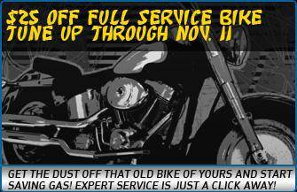 $25 off full service bike tune up through Nov. 11. Get the dust off that old bike of yours and start saving gas! Expert service is just a click away!