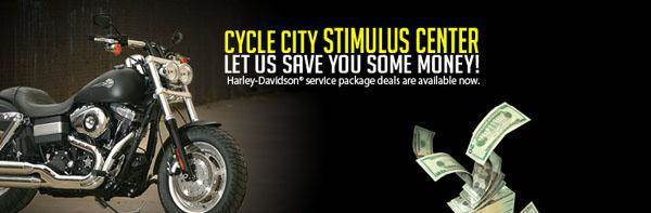 Cycle City Stimulus Center:Let us save you some money! Harley-Davidson® service package deals are available now.
