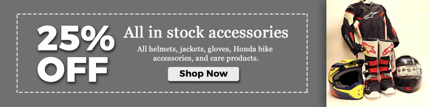 25% off on all stock accessories