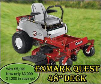 Exmark Quest 48 inch Deck - Was $5,199. Now only $3,999! $1,200 in savings!