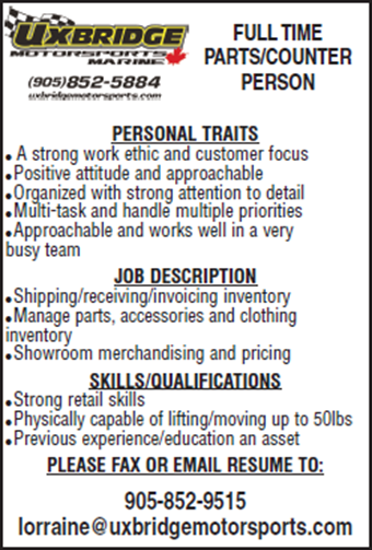 Full Time Parts Counter Person July 2016