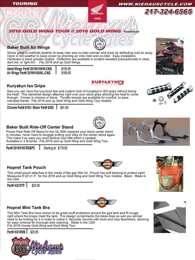 GOLD WING ACCESSORIES - NEW DEC 2017 - air wings page