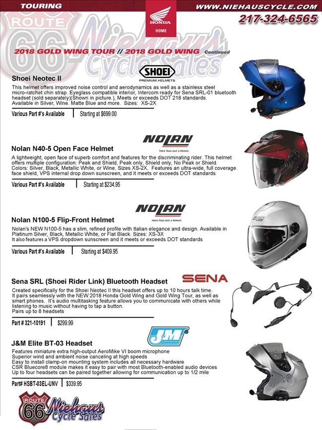 GOLD WING ACCESSORIES - NEW DEC 2017 - helmet  page