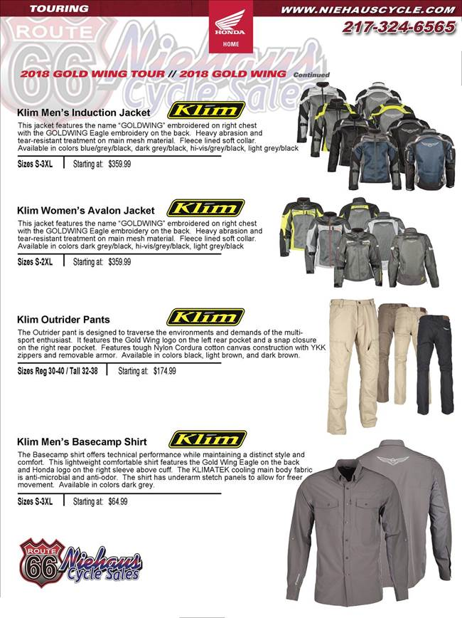 GOLD WING ACCESSORIES - NEW DEC 2017 - klim page 1