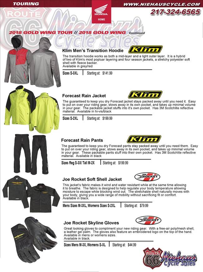 GOLD WING ACCESSORIES - NEW DEC 2017 - klim page 2