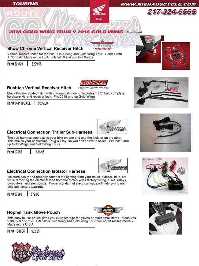 GOLD WING ACCESSORIES - NEW DEC 2017 - trailer hitch page