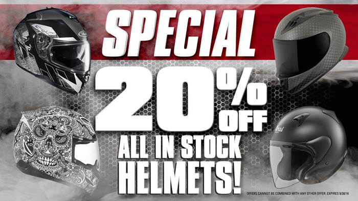 20% Off All In-Stock Helmets