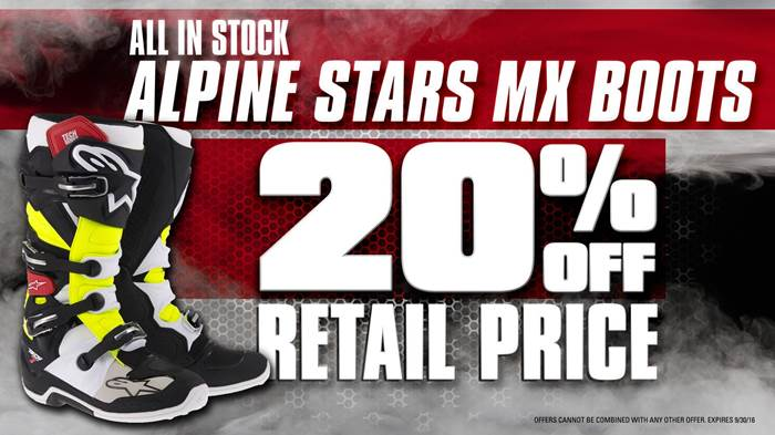 20% Off Retail Price of All In-Stock Alpine Stars MX Boots