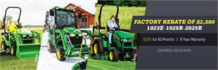 Factory rebate of $2,500 1023E-1025R-2025R. Visit us now, expires 10/31/2019!