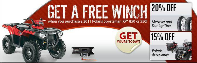 Get a free winch when you purchase a 2011 Polaris Sportsman XP 850 or 550.