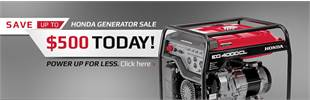 Honda Generator Sale: Save up to $500 today! Click here for details.