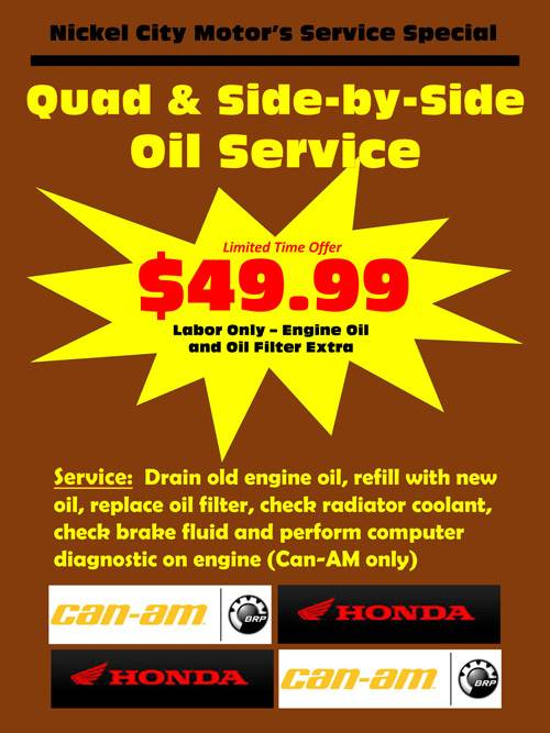 Quad & Side x Side oil service