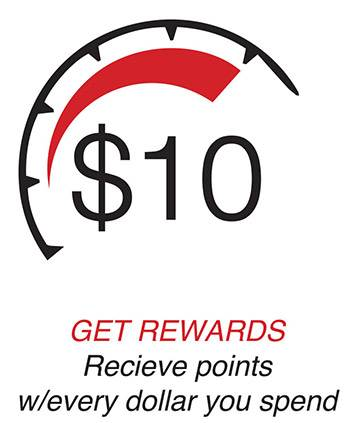 Get Rewards. Recieve points w/ every dollar you spend.