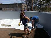 mary carvell leveling sand poolco display pool