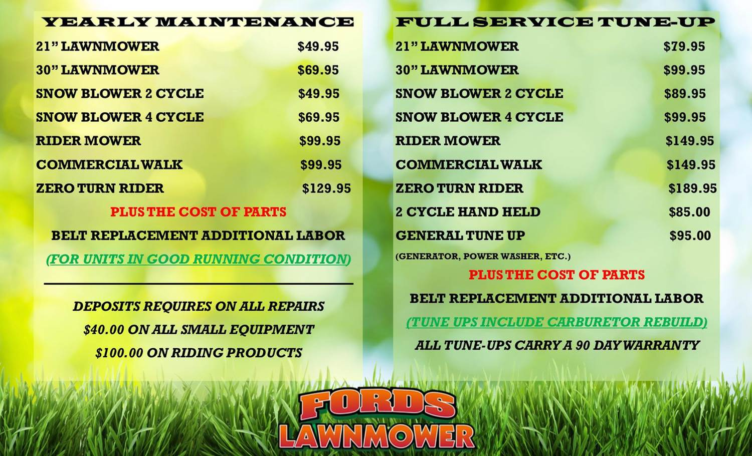 TUNE UP PRICES