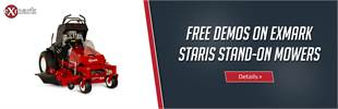 Free demos on Exmark Staris stand-on mowers. Click here to view the models.